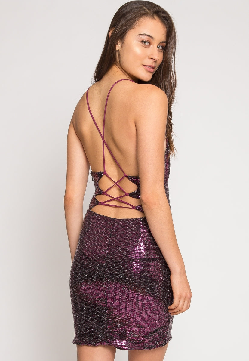 Chainmail Sequin Mini Dress in Purple - Dresses - Wetseal