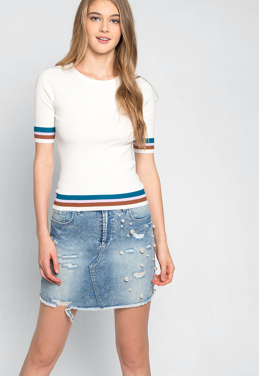 Soft Clouds & Stripes Knit Top - Shirts & Blouses - Wetseal