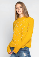 Pearl Embellished Mock Neck Sweater