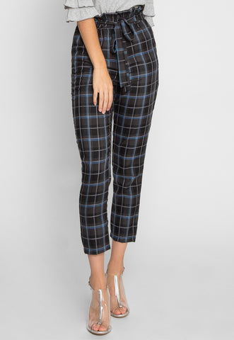 First Day Tartan Plaid Pants in Blue