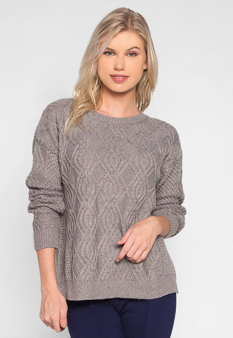 Confetti Cable Knit Sweater in Gray