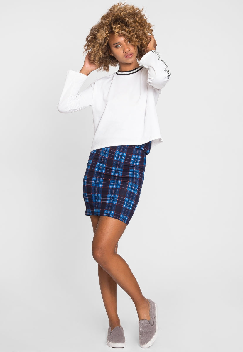 For You Checkboard Trim Knit Top in White - Sweaters & Sweatshirts - Wetseal