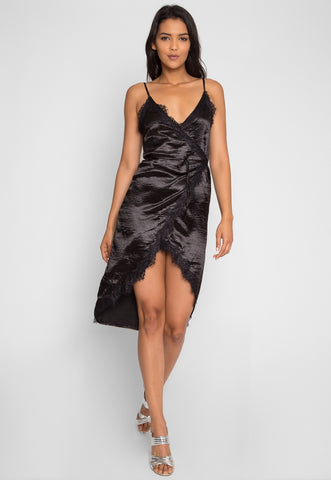 Mercury Satin Wrap Dress in Black