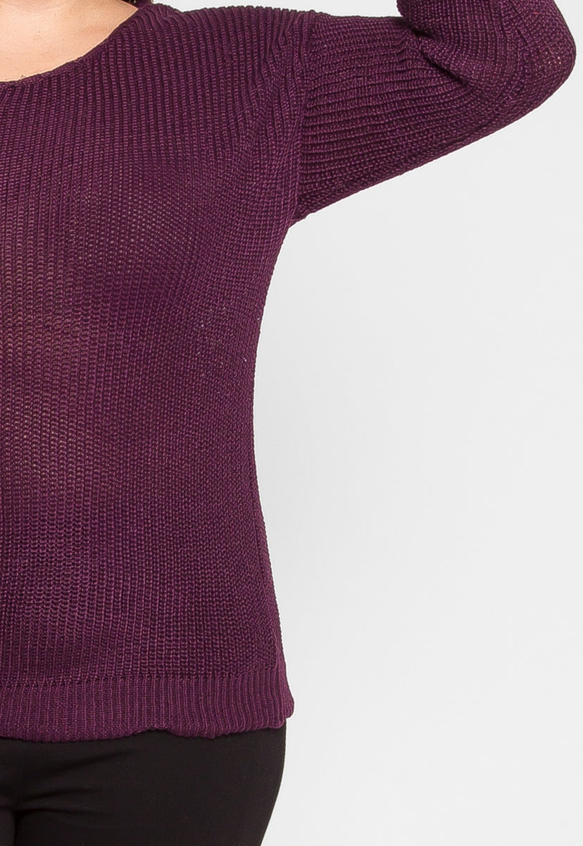 Plus Size Venice Sweater in Plum - Plus Outerwear - Wetseal