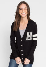 Throwback Letterman Cardigan in Black