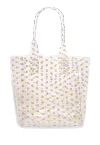Printed Transparent Tote in White