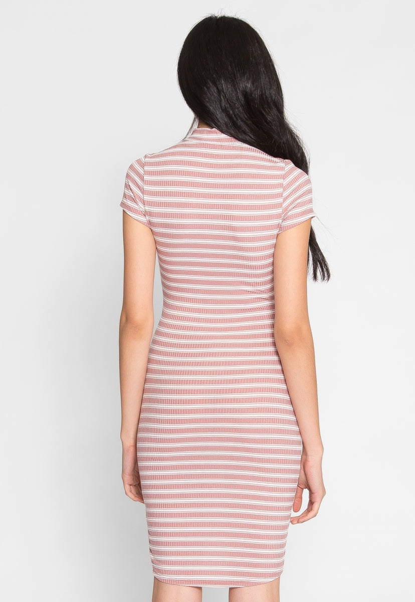 Laura Lace Up Stripe Dress - Dresses - Wetseal