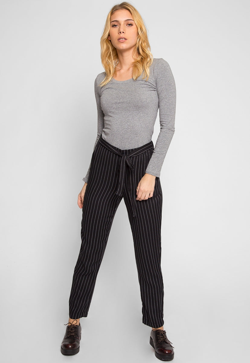 Graceful Paper Bag Stripped Pants - Pants - Wetseal