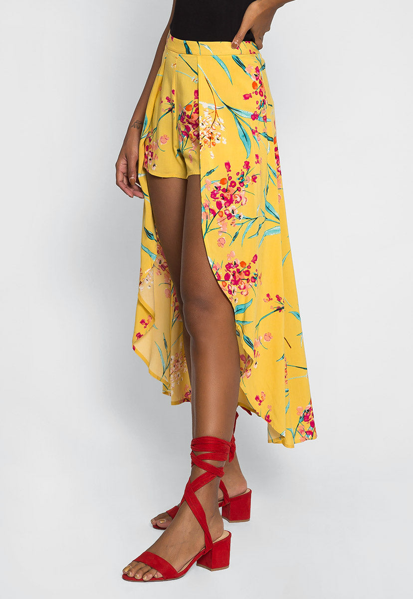 Maxime High Low Maxi Shorts in Yellow - Skirts - Wetseal