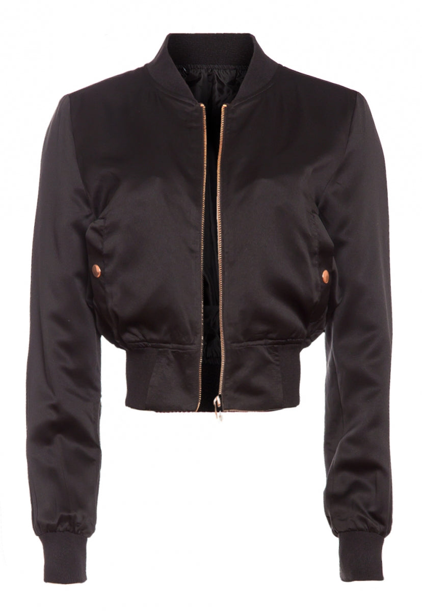Luxe Satin Cropped Bomber Jacket in Black - Jackets & Coats - Wetseal