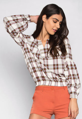 Over My Head Slit Neckline Plaid Boluse