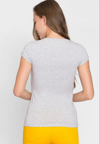 Chill V-Neck Basic Tee in Gray