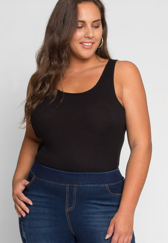 Plus Size Racerback Tank Top in Black