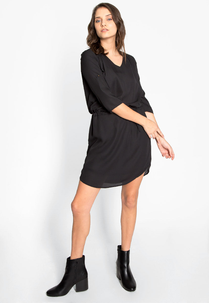 Classic & Chic Roll Tab Sleeves Dress - Dresses - Wetseal