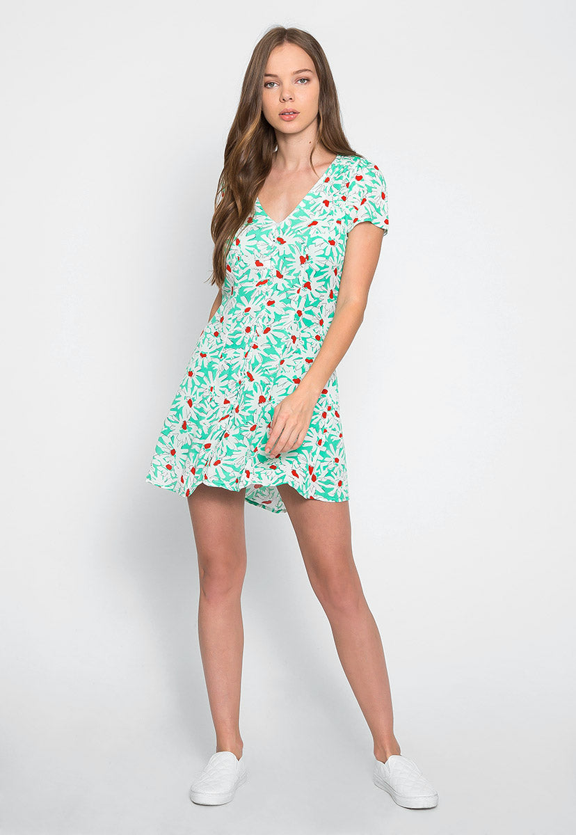 Fresh Daisy Button Front Mini Dress - Dresses - Wetseal