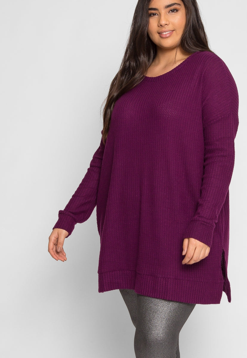 Plus Size Bae Thermal Top in Purple - Plus Tops - Wetseal