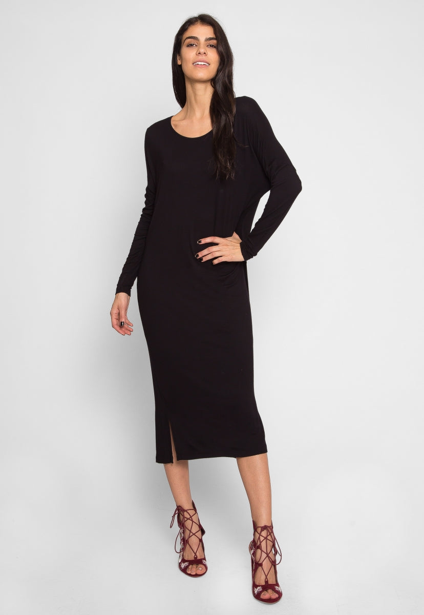 Beginnings Midi Dress in Black - Dresses - Wetseal