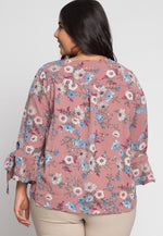 Plus Size Floral Key Hole Blouse In Mauve