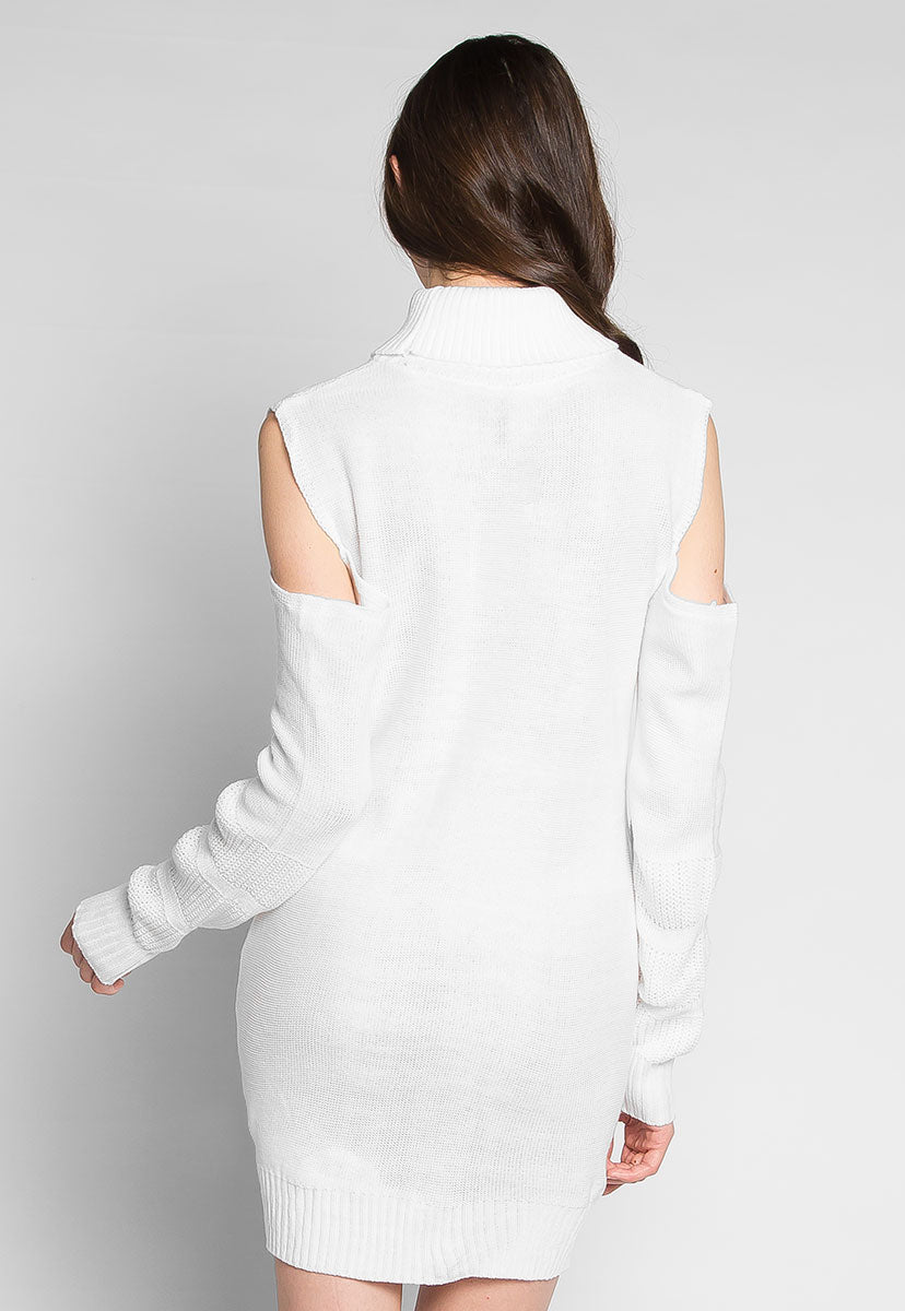 White Chocolate Cold Shoulder Sweater Dress - Dresses - Wetseal