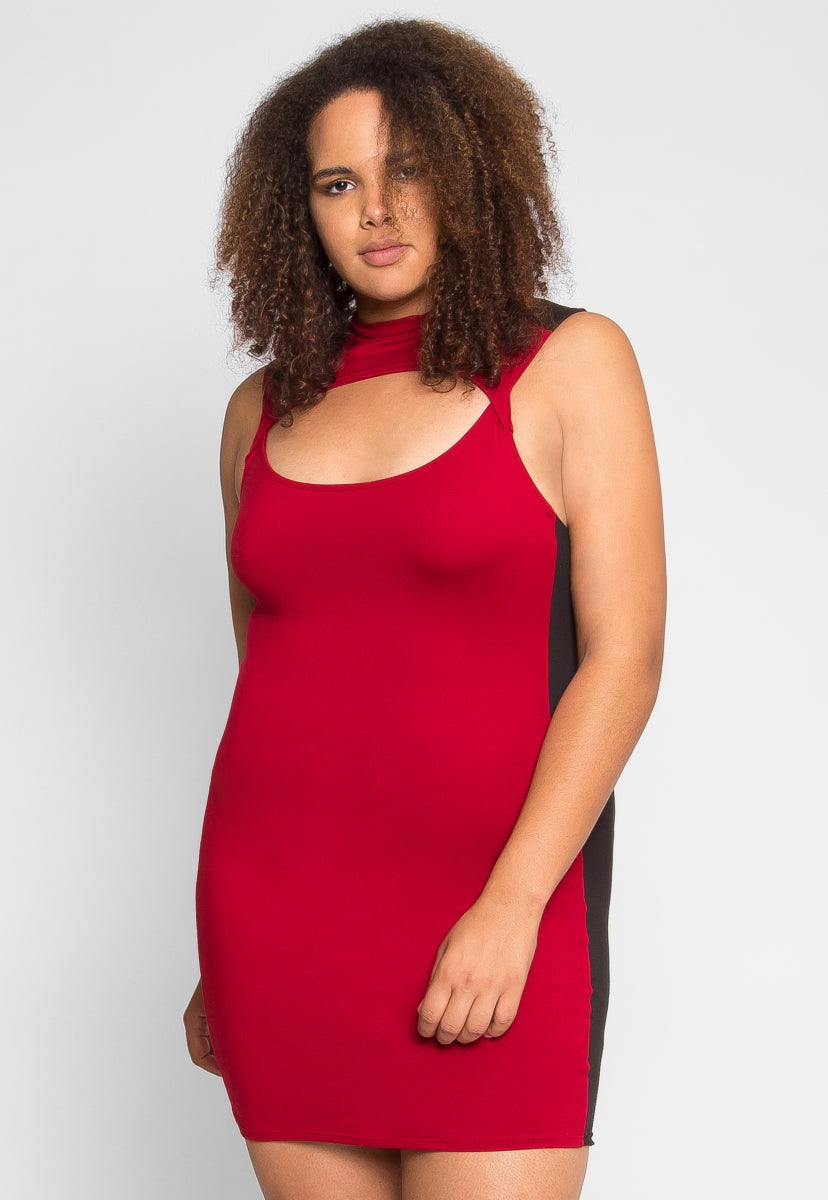 Plus Size Streetcar Cut Out Dress in Red - Plus Dresses - Wetseal