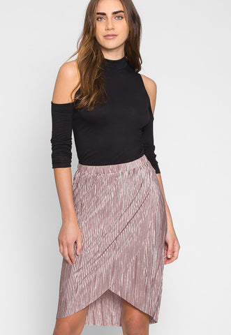 Metallic Pleated Tulip Skirt in Lavender
