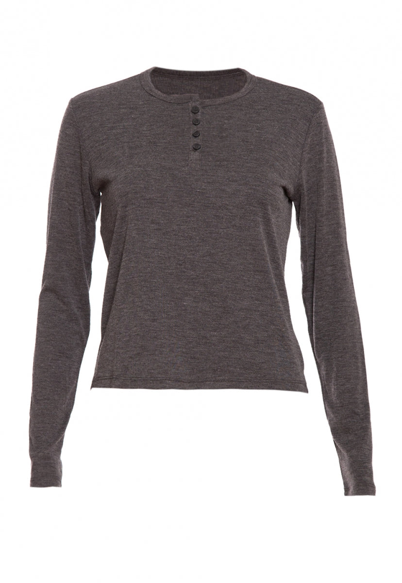 Heathered Henley Top in Charcoal - Shirts & Blouses - Wetseal
