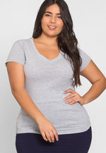 Plus Size Cora V-Neck Tee in Gray
