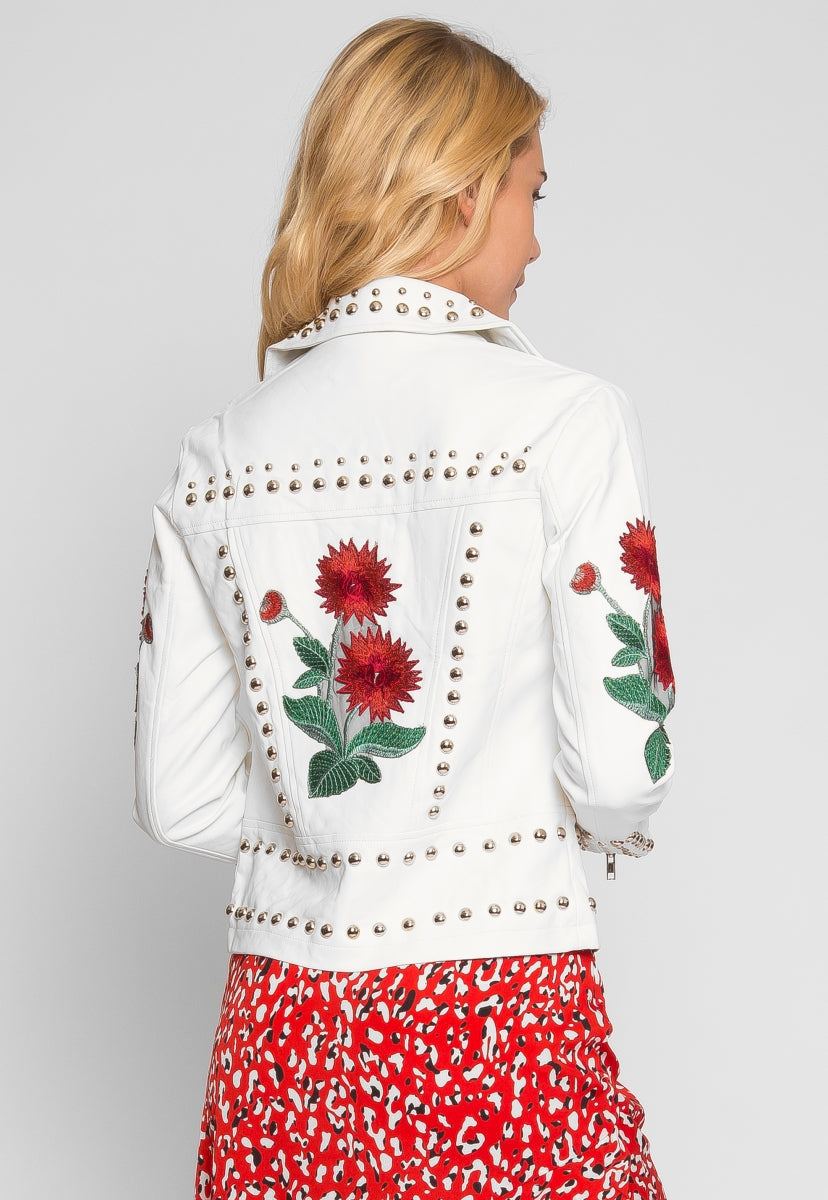Wilderness Studded Leather Jacket in White - Jackets & Coats - Wetseal