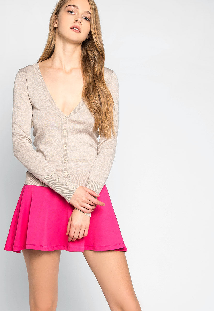 Water Lily V-Neck Cardigan in Oatmeal - Sweaters & Sweatshirts - Wetseal
