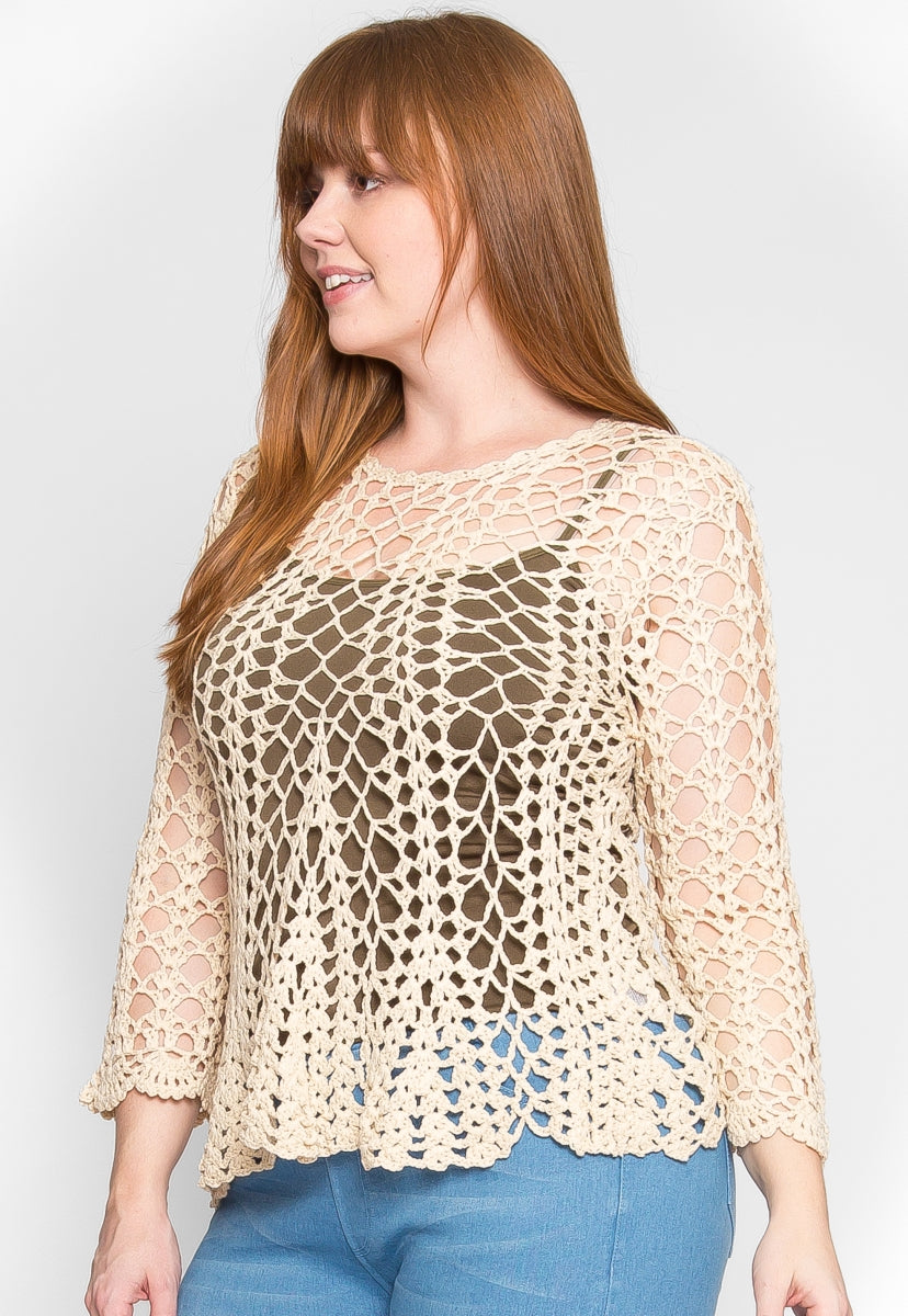 Plus Size Attention Crochet Sweater in Cream - Plus Outerwear - Wetseal