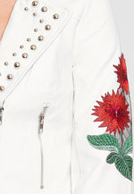 Wilderness Studded Leather Jacket in White