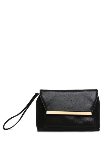 High Shine Convertible Clutch in Black