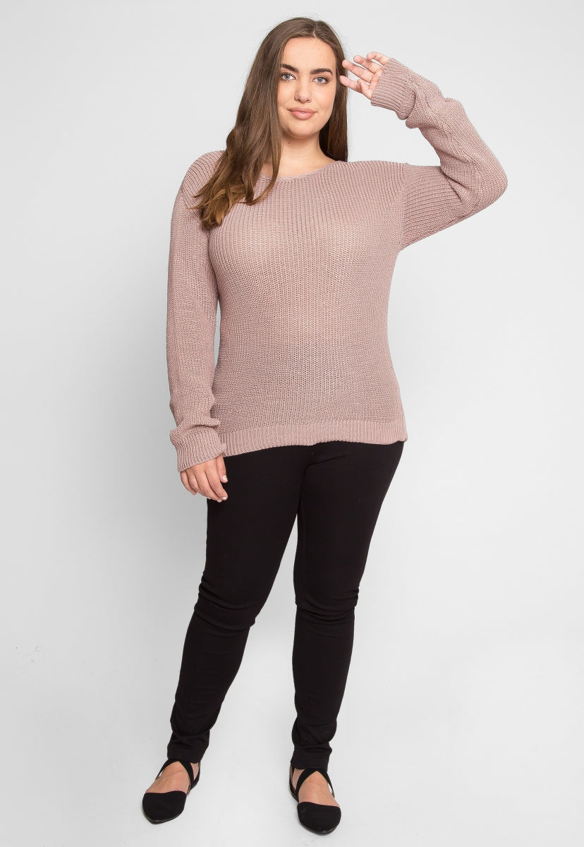 Plus Size Venice Sweater in Pink - Plus Outerwear - Wetseal