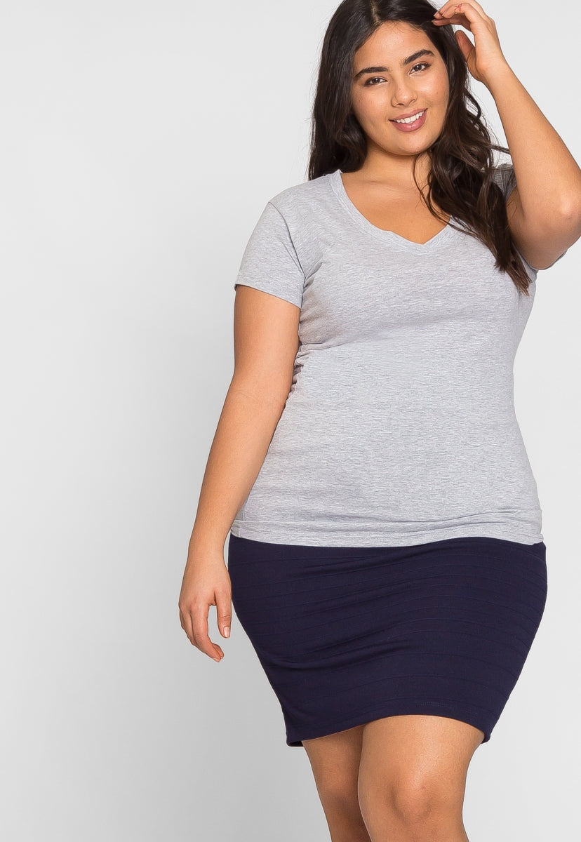 Plus Size Cora V-Neck Tee in Gray - Plus Tops - Wetseal