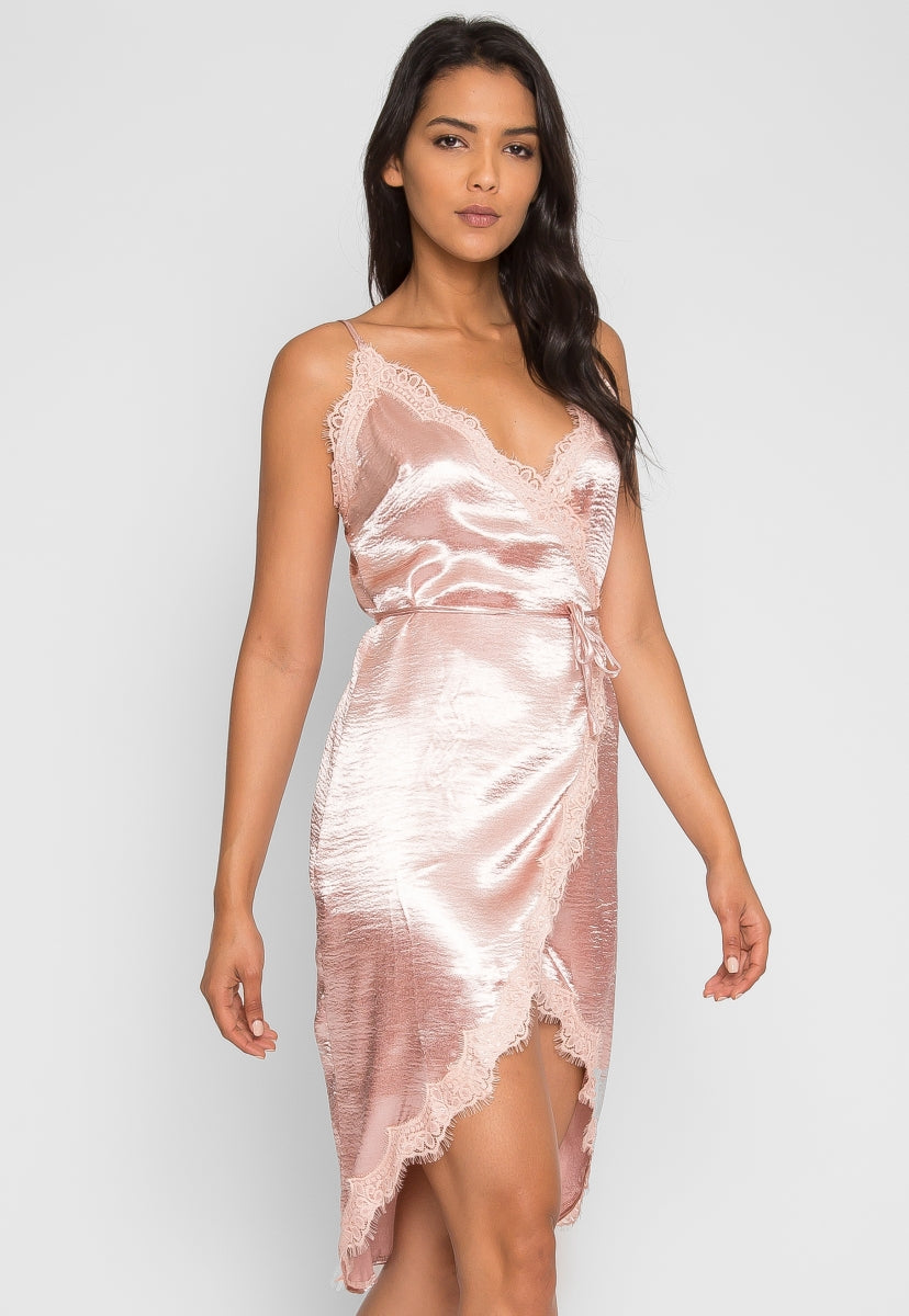 Mercury Satin Wrap Dress in Blush - Dresses - Wetseal