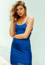 Sensual Mini Slip Dress in Blue