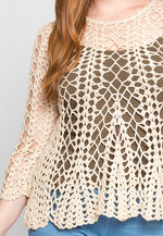 Plus Size Attention Crochet Sweater in Cream