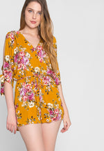 Heard A Rumor Floral Romper in Blue