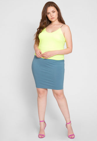 Plus Size Costa Neon Cami Top in Lime