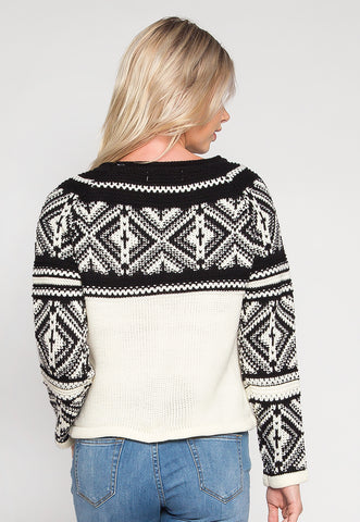 Explorers Geo Pattern Sweater in Black