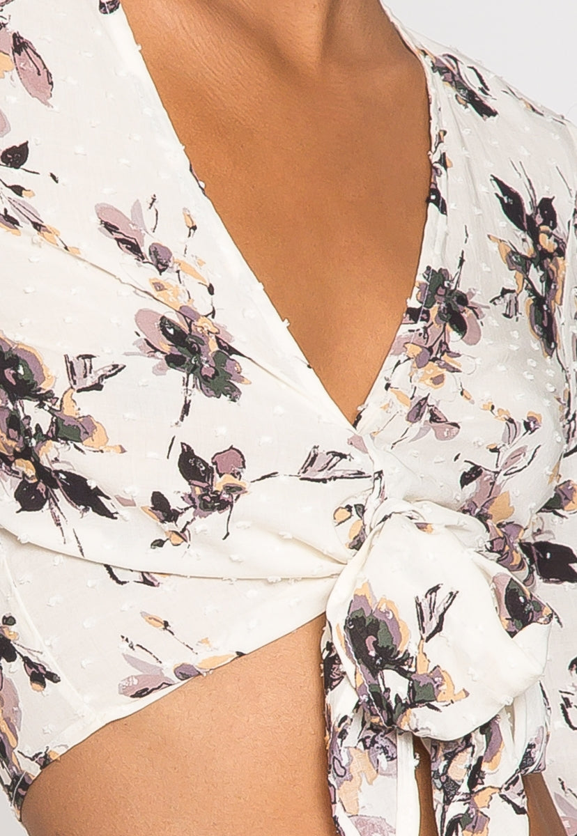 Emerson Tie Front Floral Blouse - Shirts & Blouses - Wetseal
