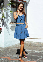 Tea Cup Button Front Skirt in Blue