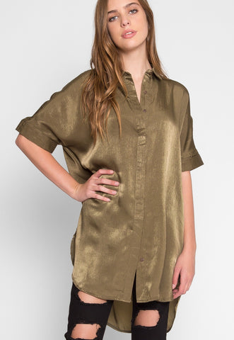 Corset Belt Satin Shirtdress in Olive