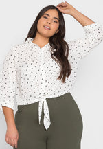 Plus Size Hearts Button Up Shirt in White