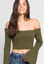 Faux Underwire Long Sleeve Top in Olive