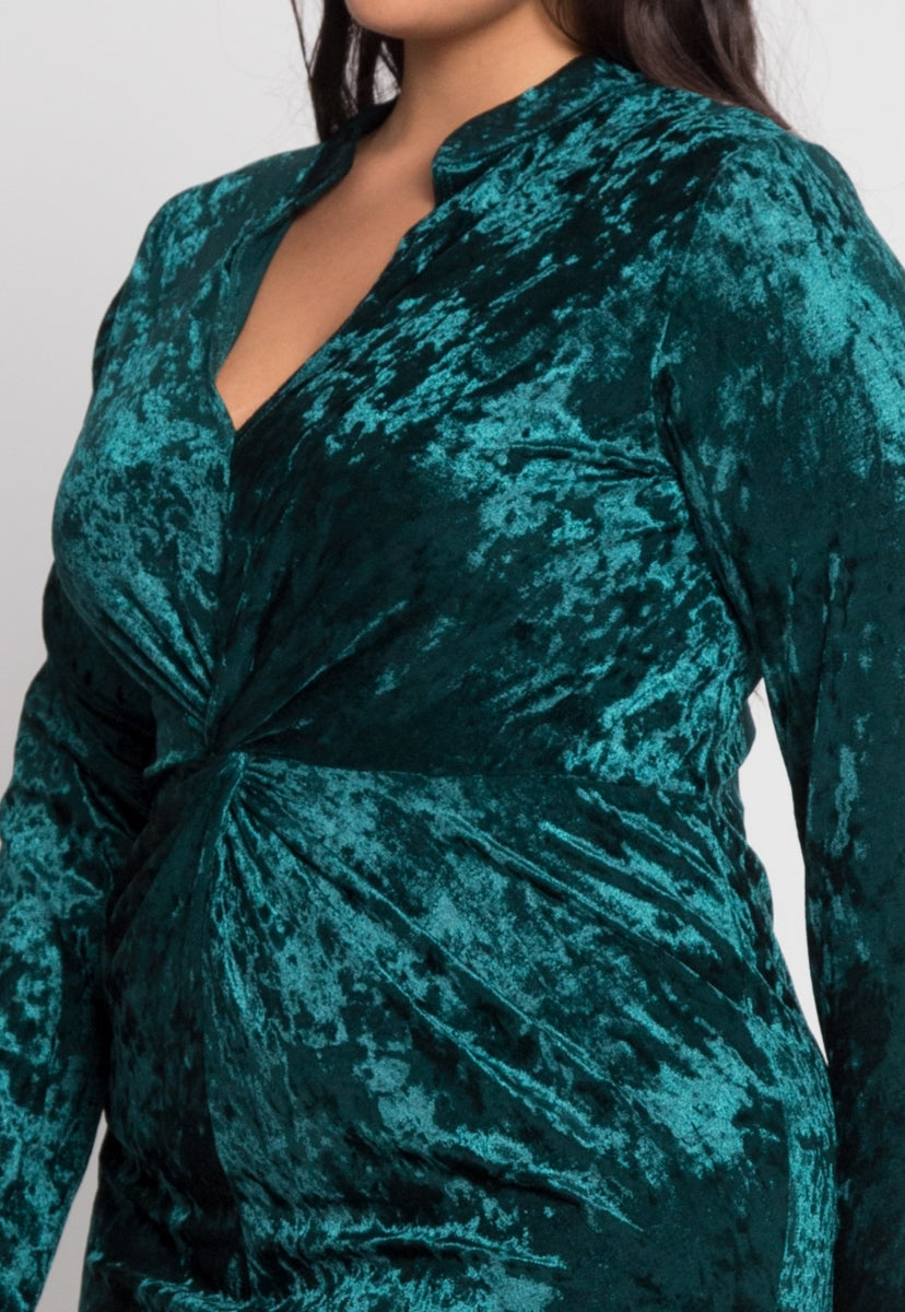 Plus Size Wild Velvet Party Dress in Green - Plus Dresses - Wetseal