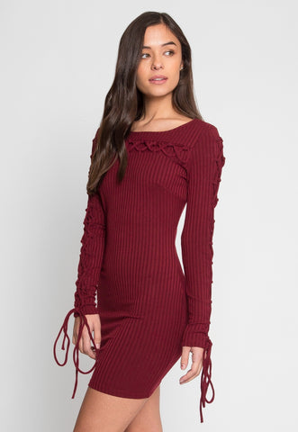 Abroad Lace Up Bodycon Dress in Burgundy