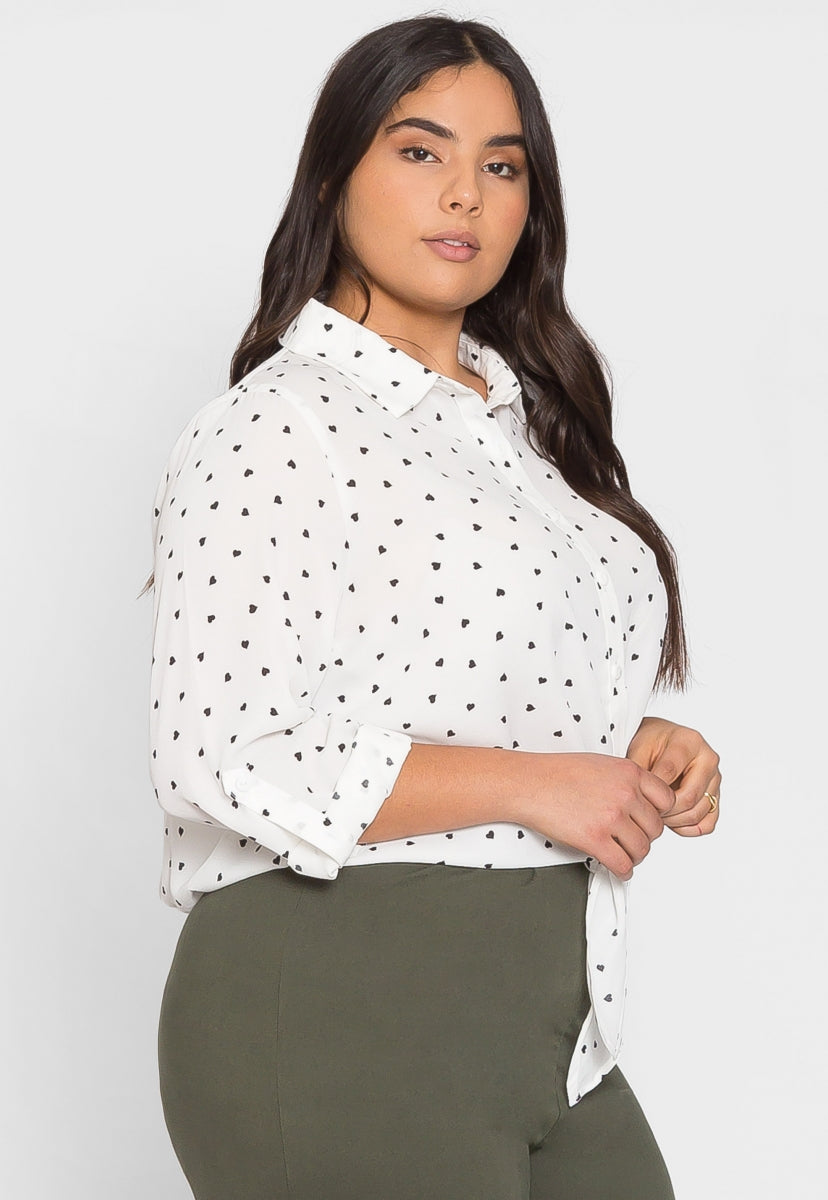 Plus Size Hearts Button Up Shirt in White - Plus Tops - Wetseal