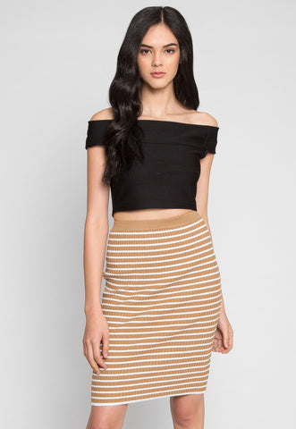 Burough Stripe Skirt in Mocha