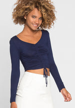 Out of This World Ruched Top in Navy